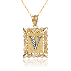 "Two-tone Gold Filigree Alphabet Initial Letter ""V"" DC Pendant Necklace"