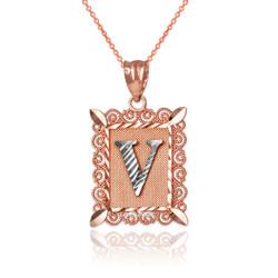 "Two-tone Rose Gold Filigree Alphabet Initial Letter ""V"" DC Pendant Necklace"