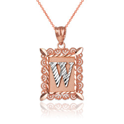 """Two-tone Rose Gold Filigree Alphabet Initial Letter """"W"""" DC Pendant Necklace"""