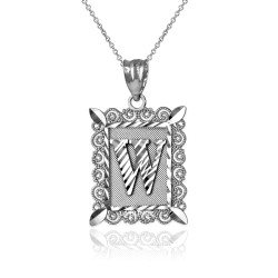 """Sterling Silver Filigree Alphabet Initial Letter """"W"""" DC Pendant Necklace"""