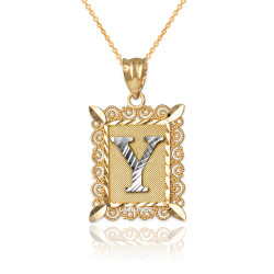 "Two-tone Gold Filigree Alphabet Initial Letter ""Y"" DC Pendant Necklace"