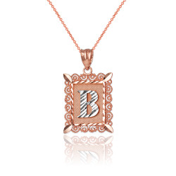 """Two-tone Rose Gold Filigree Alphabet Initial Letter """"B"""" DC Charm Necklace"""