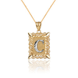 "Two-tone Gold Filigree Alphabet Initial Letter ""C"" DC Charm Necklace"