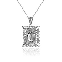 """Sterling Silver Filigree Alphabet Initial Letter """"C"""" DC Charm Necklace"""