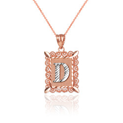"""Two-tone Rose Gold Filigree Alphabet Initial Letter """"D"""" DC Charm Necklace"""