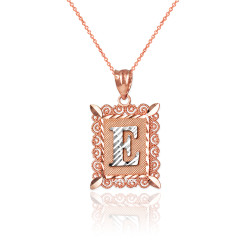 "Two-tone Rose Gold Filigree Alphabet Initial Letter ""E"" DC Charm Necklace"