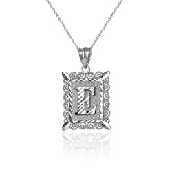 "White Gold Filigree Alphabet Initial Letter ""E"" DC Charm Necklace"