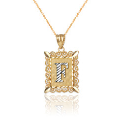 "Two-tone Gold Filigree Alphabet Initial Letter ""F"" DC Charm Necklace"