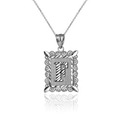 """Sterling Silver Filigree Alphabet Initial Letter """"F"""" DC Charm Necklace"""