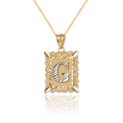 "Two-tone Gold Filigree Alphabet Initial Letter ""G"" DC Charm Necklace"