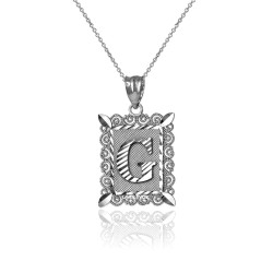 "White Gold Filigree Alphabet Initial Letter ""G"" DC Charm Necklace"