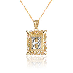 "Two-tone Gold Filigree Alphabet Initial Letter ""H"" DC Charm Necklace"