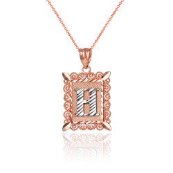 """Two-tone Rose Gold Filigree Alphabet Initial Letter """"H"""" DC Charm Necklace"""