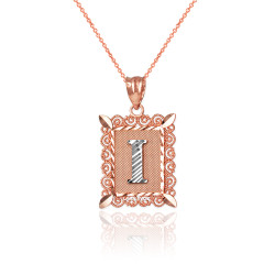 """Two-tone Rose Gold Filigree Alphabet Initial Letter """"I"""" DC Charm Necklace"""