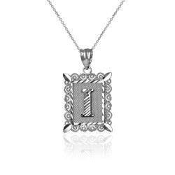 "White Gold Filigree Alphabet Initial Letter ""I"" DC Charm Necklace"