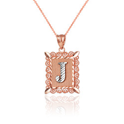 """Two-tone Rose Gold Filigree Alphabet Initial Letter """"J"""" DC Charm Necklace"""