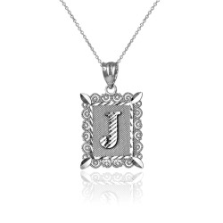 "White Gold Filigree Alphabet Initial Letter ""J"" DC Charm Necklace"