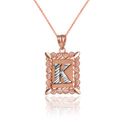 """Two-tone Rose Gold Filigree Alphabet Initial Letter """"K"""" DC Charm Necklace"""