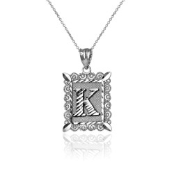 "White Gold Filigree Alphabet Initial Letter ""K"" DC Charm Necklace"