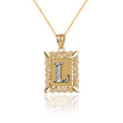 "Two-tone Gold Filigree Alphabet Initial Letter ""L"" DC Charm Necklace"