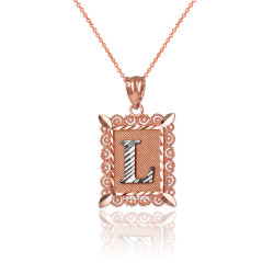 """Two-tone Rose Gold Filigree Alphabet Initial Letter """"L"""" DC Charm Necklace"""