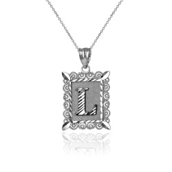 """Sterling Silver Filigree Alphabet Initial Letter """"L"""" DC Charm Necklace"""