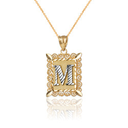 "Two-tone Gold Filigree Alphabet Initial Letter ""M"" DC Charm Necklace"