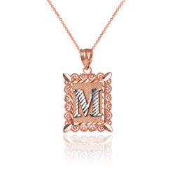 """Two-tone Rose Gold Filigree Alphabet Initial Letter """"M"""" DC Charm Necklace"""