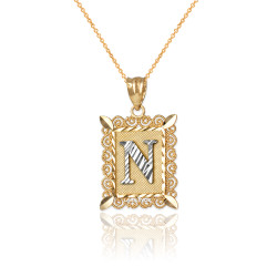 "Two-tone Gold Filigree Alphabet Initial Letter ""N"" DC Charm Necklace"