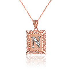 "Two-tone Rose Gold Filigree Alphabet Initial Letter ""N"" DC Charm Necklace"