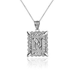 "White Gold Filigree Alphabet Initial Letter ""N"" DC Charm Necklace"