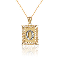 "Two-tone Gold Filigree Alphabet Initial Letter ""O"" DC Charm Necklace"