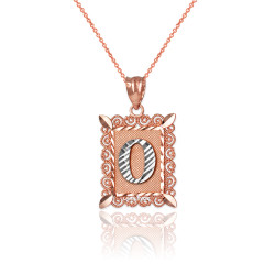 """Two-tone Rose Gold Filigree Alphabet Initial Letter """"O"""" DC Charm Necklace"""
