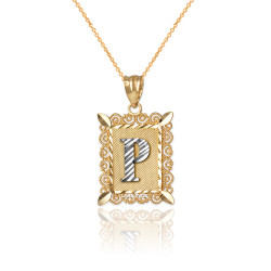 "Two-tone Gold Filigree Alphabet Initial Letter ""P"" DC Charm Necklace"