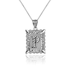 "White Gold Filigree Alphabet Initial Letter ""P"" DC Charm Necklace"