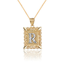 "Two-tone Gold Filigree Alphabet Initial Letter ""R"" DC Charm Necklace"