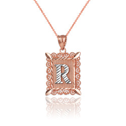 "Two-tone Rose Gold Filigree Alphabet Initial Letter ""R"" DC Charm Necklace"