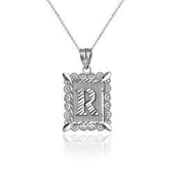 "White Gold Filigree Alphabet Initial Letter ""R"" DC Charm Necklace"