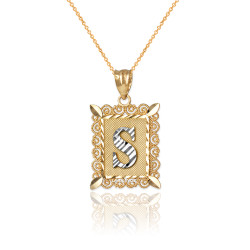 "Two-tone Gold Filigree Alphabet Initial Letter ""S"" DC Charm Necklace"