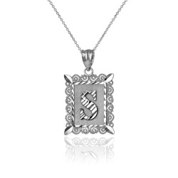 "White Gold Filigree Alphabet Initial Letter ""S"" DC Charm Necklace"