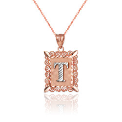 "Two-tone Rose Gold Filigree Alphabet Initial Letter ""T"" DC Charm Necklace"