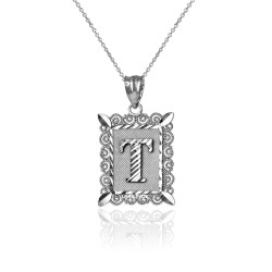 "White Gold Filigree Alphabet Initial Letter ""T"" DC Charm Necklace"