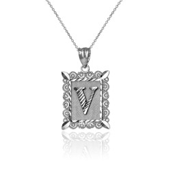 "White Gold Filigree Alphabet Initial Letter ""V"" DC Charm Necklace"
