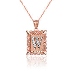"Two-tone Rose Gold Filigree Alphabet Initial Letter ""W"" DC Charm Necklace"