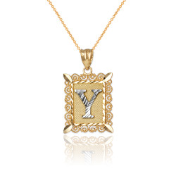 "Two-tone Gold Filigree Alphabet Initial Letter ""Y"" DC Charm Necklace"