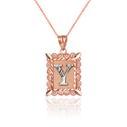"Two-tone Rose Gold Filigree Alphabet Initial Letter ""Y"" DC Charm Necklace"