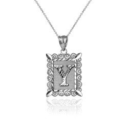 "Sterling Silver Filigree Alphabet Initial Letter ""Y"" DC Charm Necklace"