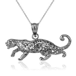 White Gold Crawling Cheetah Pendant Necklace