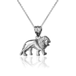 White Gold Tiny Lion Charm Necklace