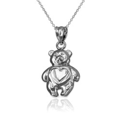 White Gold Teddy Bear Charm Necklace